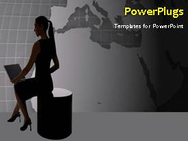 PowerPlugs: PowerPoint template with depiction of search engine with lady operating laptop and world map in background