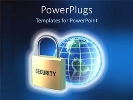 PowerPlugs: PowerPoint template with a depiction of secure digital world with a bluish background