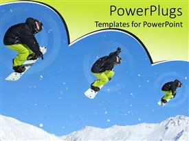 PowerPoint template displaying depiction of Snowboarder path as he jumps down from mountain side