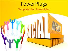 PowerPlugs: PowerPoint template with depiction of social media with colored people joining raised hands