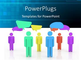 PowerPoint template displaying depiction of social network with colored people and speech bubbles