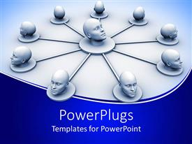 PowerPlugs: PowerPoint template with depiction of social network linked with just human heads