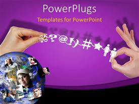 PowerPoint template displaying depiction of social networking with globe and hand holding social network symbols