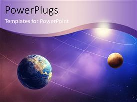 PowerPlugs: PowerPoint template with depiction of the solar system with earth globe and moon