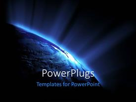 PowerPlugs: PowerPoint template with depiction of solar system at night with sunlight shinning on earth globe