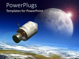PowerPlugs: PowerPoint template with depiction of space module flying to the moon with depiction of earth and blue sky background