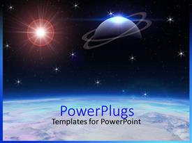 PowerPoint template displaying a depiction of space with a star and a planet along with Earth outer space