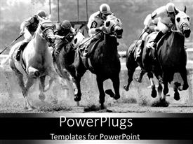 PowerPlugs: PowerPoint template with depiction of sportsmen during horse racing contest