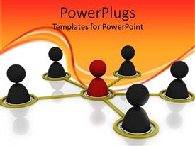 PowerPlugs: PowerPoint template with depiction of star network topology with people icons on white background