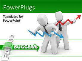 PowerPlugs: PowerPoint template with depiction of success achieved by overcoming obstacle of failure