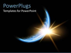 PowerPlugs: PowerPoint template with a depiction of sunrise on Earth along with darkness covering most part of the Earth