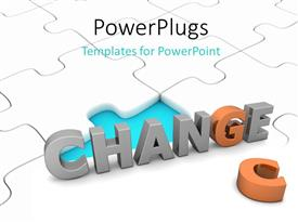 PowerPlugs: PowerPoint template with depiction of taking CHANCE to effect CHANGE on white jigsaw puzzle