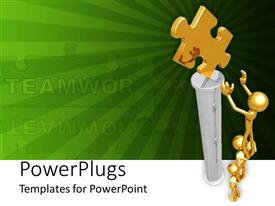 PowerPlugs: PowerPoint template with depiction of team work as gold plated men work together