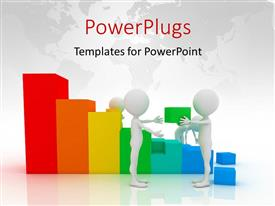 PowerPlugs: PowerPoint template with depiction of teamwork with four 3D men constructing bar chart