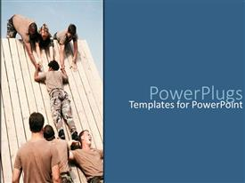 PowerPoint template displaying depiction of teamwork with soldiers helping each other in training camp