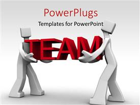 PowerPoint template displaying depiction of teamwork with two men carrying the word TEAM