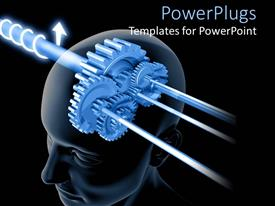 PowerPlugs: PowerPoint template with depiction of thinking with connected gears in human head