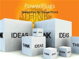 PowerPlugs: PowerPoint template with depiction of thoughts and IDEAS with white cubes and human brain