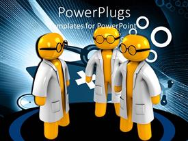 PowerPlugs: PowerPoint template with depiction of three human doctors in yellow with animated background