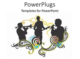 PowerPlugs: PowerPoint template with depiction of three human figures singing and plying musical instruments