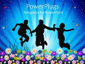 PowerPlugs: PowerPoint template with depiction of three young happy people jumping joyfully over flowers
