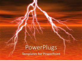 PowerPoint template displaying depiction of thunderstorm with lightening over sea surface and cloudy sky