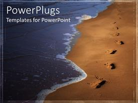 PowerPlugs: PowerPoint template with the depiction of a tide and footprints on the beach