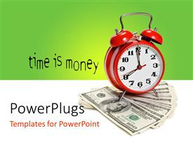 PowerPlugs: PowerPoint template with depiction of time value with clock on dollar bills over white surface