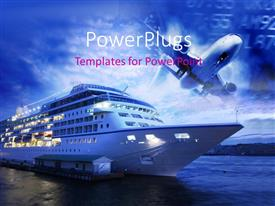 PowerPlugs: PowerPoint template with depiction of transportation withairline flying over ocean liner