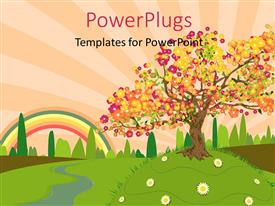 PowerPlugs: PowerPoint template with depiction of trees and summer countryside with rainbow in clouds