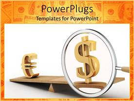 PowerPoint template displaying depiction of two gold colored currency symbols on a scale
