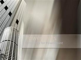 PowerPlugs: PowerPoint template with depiction of two high buildings with blurry background
