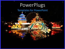 PowerPoint template displaying a depiction of typical chinese festival with dragons and fireworks