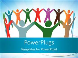PowerPlugs: PowerPoint template with depiction of unity with colored people holding hands in a circle