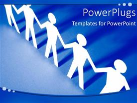 PowerPlugs: PowerPoint template with depiction of unity with white paper men holding hands on blue background