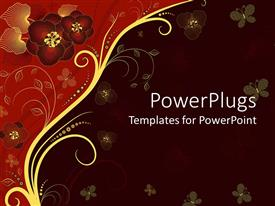 PowerPlugs: PowerPoint template with a depiction of various flowers with dark colored background