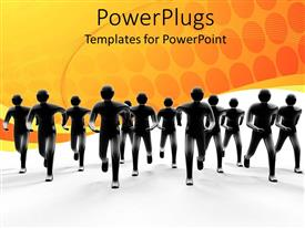 PowerPlugs: PowerPoint template with depiction of various humans on a race with yellow background