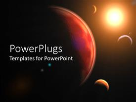 PowerPoint template displaying a depiction of various planets and the view of sunlight on them