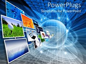 PowerPoint template displaying a depiction of various screens and the globe with latest technology