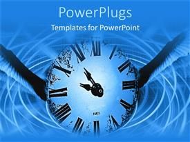 PowerPlugs: PowerPoint template with depiction of vintage analogue clock in blue abstract background