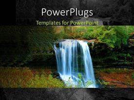PowerPlugs: PowerPoint template with depiction of waterfall with water gushing down moutain to beautiful valley