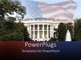 PowerPlugs: PowerPoint template with depiction of White House with trees and fountain and United States flag waving fading in the background