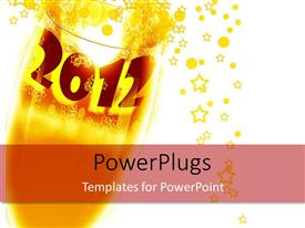 PowerPlugs: PowerPoint template with depiction of wine glass with label 2012 and yellow colored drink