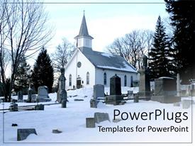 PowerPlugs: PowerPoint template with depiction of winter with snow covered church and graves