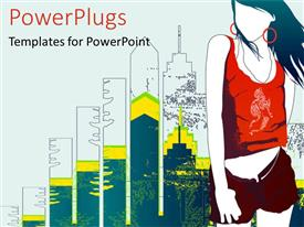 PowerPlugs: PowerPoint template with depiction of woman moving with fashion trends