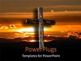 PowerPoint template displaying depiction of wooden cross over beautiful sunrise