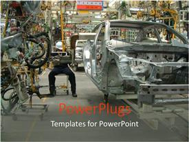 PowerPoint template displaying a depiction of the working of an auto industry