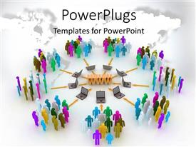 PowerPlugs: PowerPoint template with depiction of world wide web with people connected through laptops