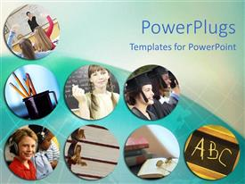 PowerPlugs: PowerPoint template with depictions of education, classroom, school supplies, students