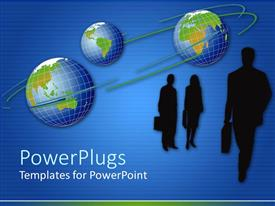 PowerPlugs: PowerPoint template with depictions of three corporate individuals with briefcases on a blue background